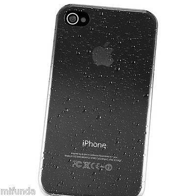 CARCASA ULTRA THIN GOTAS DE LLUVIA GRIS PARA IPHONE 4G RAIN DROP HARD CASE 2