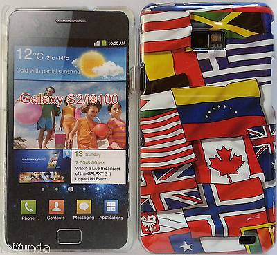 "PARA SAMSUNG GALAXY S2 SII i9100 CARCASA FUNDA DURA DISEÑO ""FLAGS"" SNAP ON CASE"