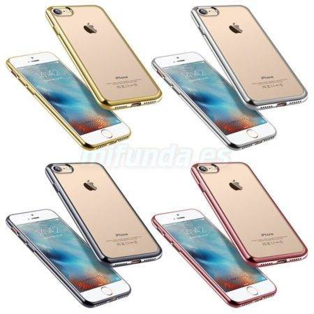 PARA APPLE IPHONE 7/8 FUNDA DE GEL TPU TRANSPARENTE PREMIUM CON BORDE METALIZADO 1