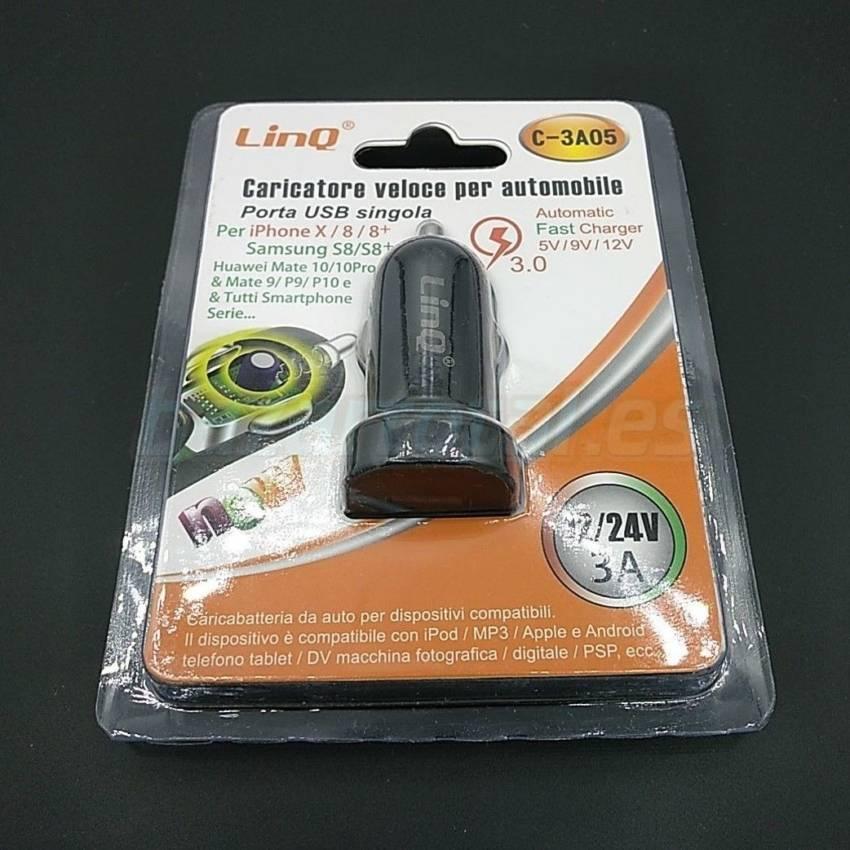 CARGADOR RAPIDO DE COCHE 1 USB 12-24V/5-9-12V 3A QUALCOMM® 3.0 QUICK CHARGER