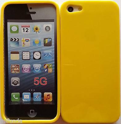 FUNDA CARCASA GEL TPU BRILLO AMARILLO PARA IPHONE 5G/S GLOSSY CASE