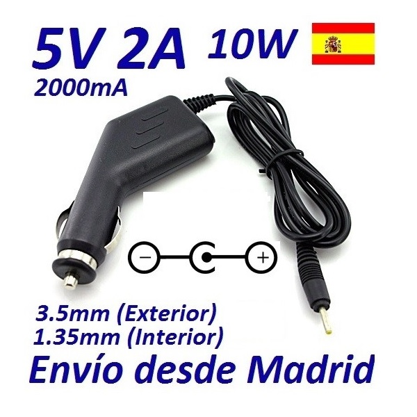 ✅CARGADOR RAPIDO DE COCHE/CAMION CONECTOR 3.5x1.35mm 12/24V 10W 2.0A 1