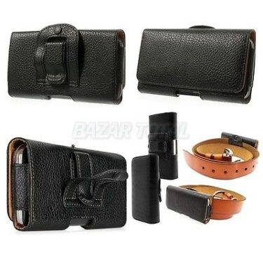 PARA MOTOROLA MOTO X FUNDA DE CINTURON EN POLIPIEL NEGRA LEATHER BELT CASE 1