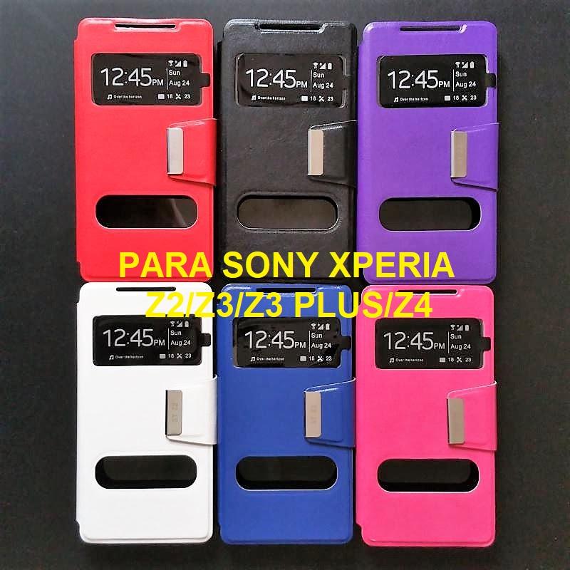 ✅SONY XPERIA Z2 / Z3 / Z3 PLUS / Z4 FUNDA DE TAPA LIBRO CON 2 VENTANAS 1