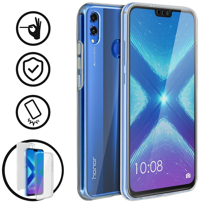 💥HUAWEI HONOR 8X FUNDA CARCASA DOBLE TRANSPARENTE CON PROTECCION TOTAL 360º 1