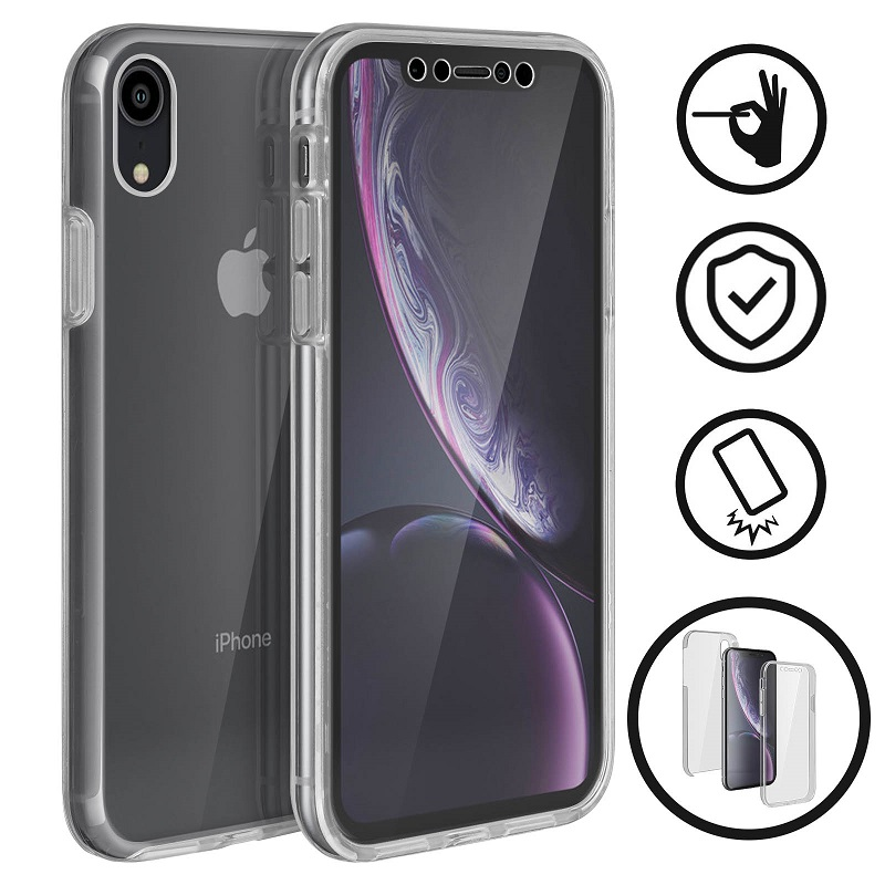 💥APPLE IPHONE XR FUNDA CARCASA TRANSPARENTE DOBLE CON PROTECCION INTEGRAL 360º 1