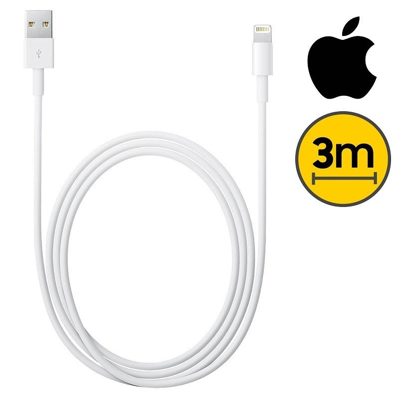 💥CABLE COMPATIBLE CON APPLE LIGHTNING MACHO A USB MACHO DE 3M. BLANCO 1