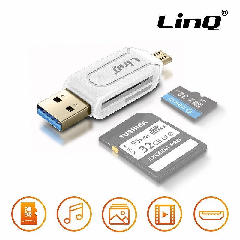 ✅ADAPTADOR OTG USB Y MICRO USB CON LECTOR DE TARJETAS BLANCO 1