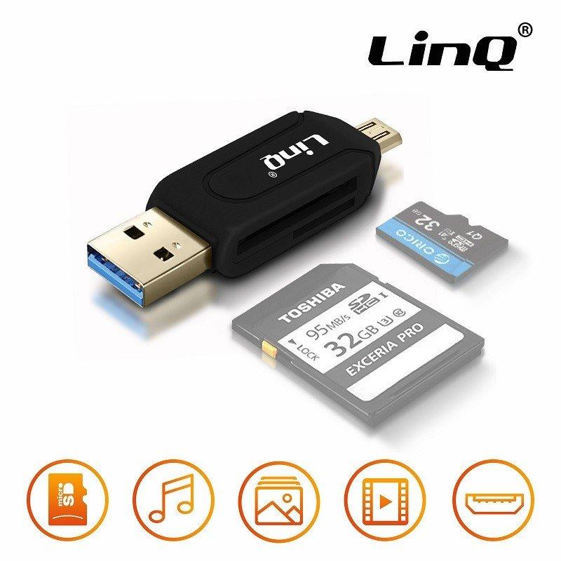 ✅ADAPTADOR OTG USB Y MICRO USB CON LECTOR DE TARJETAS NEGRO 1
