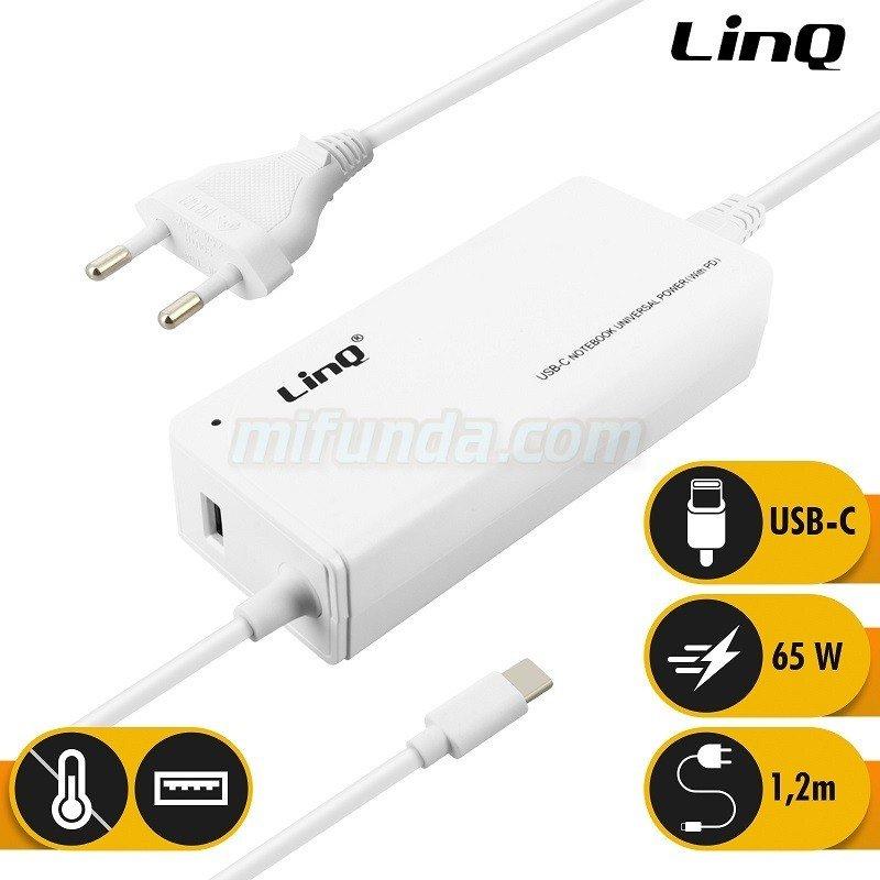 💥LinQ TJ-281 CARGADOR DE RED ULTRA RAPIDO DE 65W PD CON USB Y CABLE TIPO C 1