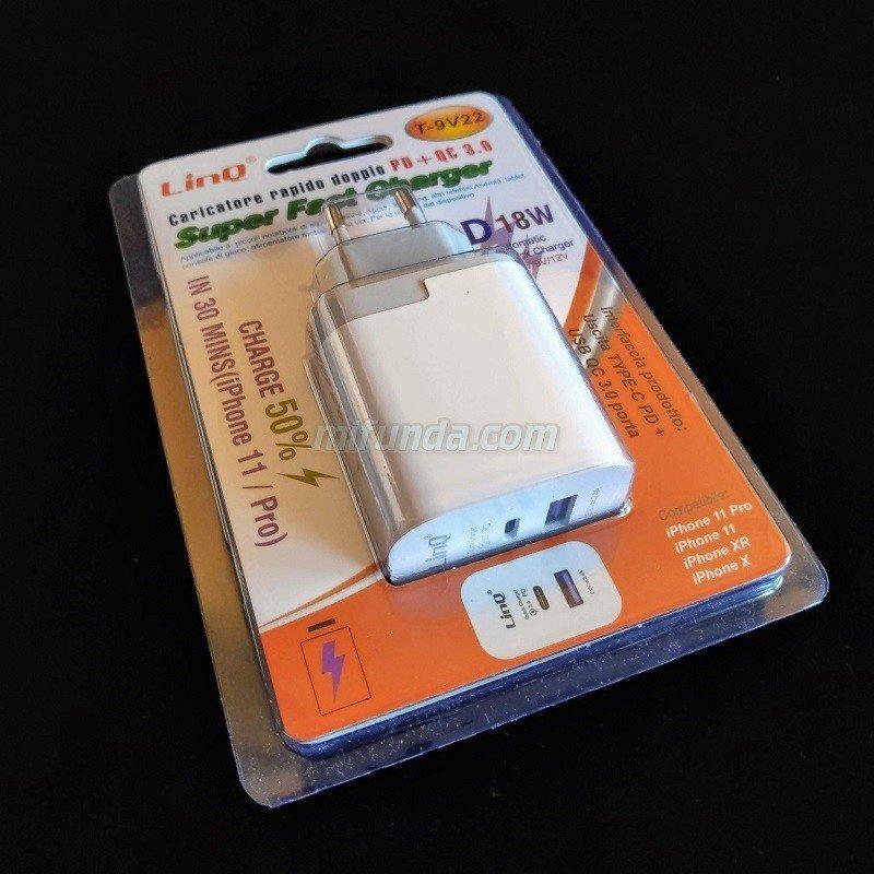 💥CARGADOR DE RED ULTRA RAPIDO LinQ® T-9V22 DE 18W CON 1 USB TIPO C PD+1 USB QC 3.0 1