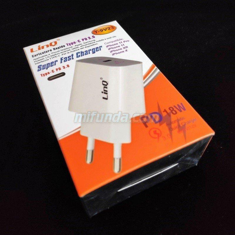 ✔CARGADOR DE RED ULTRA RAPIDO LinQ® T-9V23 DE 18W CON USB TIPO C PD QC 3.0 1