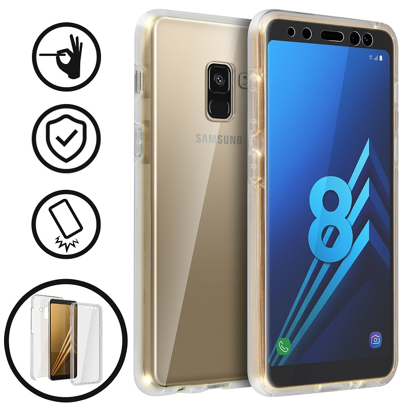 💥SAMSUNG GALAXY A8 PLUS FUNDA CARCASA DOBLE TRANSPARENTE CON PROTECCION TOTAL 360º 1