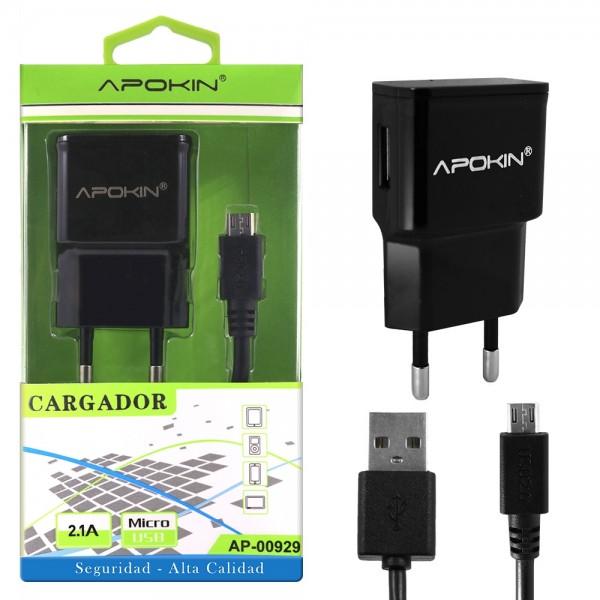 💥CARGADOR DE RED CON CABLE MICRO USB DE 1 M. NEGRO DE 2.1A 1