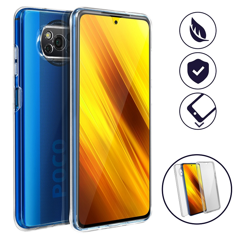 💥XIAOMI POCOPHONE X3 NFC FUNDA CARCASA DOBLE TRANSPARENTE CON PROTECCION TOTAL 360º 1