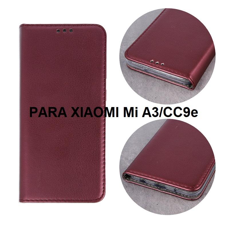 ✅XIAOMI MI A3/CC9e FUNDA DE TAPA SMART MAGNETIC BORGOÑA 1